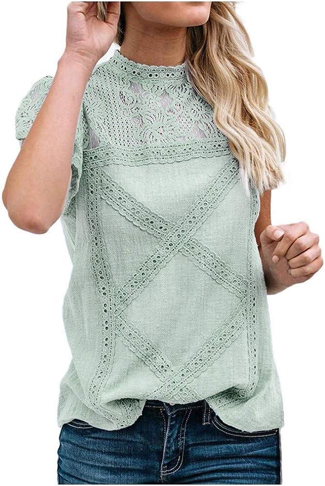 AODONG Tops for Women,Womens Casual Summer O-Neck T-Shirt Loose Lace Blouse Short Sleeve Shirt Tunic Top
