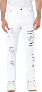 Men's Denim Pants Ripped Distressed Slim Fit Straight Fit Gothic Jeans with Holes