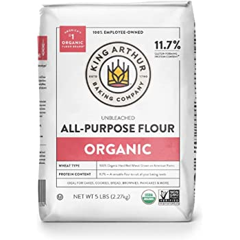 King Arthur Flour 100% Organic Unbleached All-Purpose Flour, 5 lb (Pack of 6)