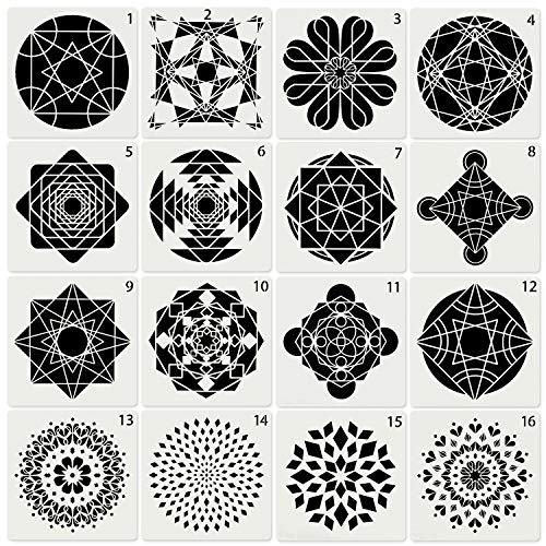 Skyoo 16 Stks Schilderij Tekening Stencils Mandala Sjabloon voor Stenen Vloer Wandtegel Stof Hout Brandende Kunst Ambachtelijke benodigdheden