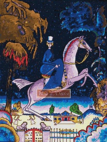 Amazons con leones–Kit de punto de cruz, diseño de caballo (16ct Aida)