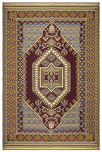 Lightweight Indoor Outdoor Reversible Plastic Area Rug - 5.9 x 8.9 Feet - Bohemian - Multi