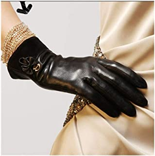 SHENTIANWEI Women's Gloves Touch Screen Warm Bow Fashion Leather Gloves (Color : Black, Size : L)