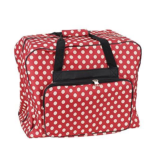 Unbekannt Nähmaschinen Tasche XL (rot/Creme gepunktet)