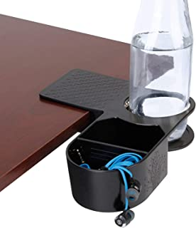 Computer Desk Clip On Cup Holder with Organizer Tray - Drink & Accessory Storage with Reinforced Clamp & Removable Divider...