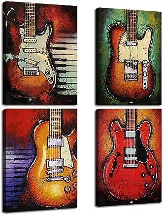 VIIVEI 4 Piece Arte de la Pared de música Impresiones de la Lona de Guitarra Abstracta
