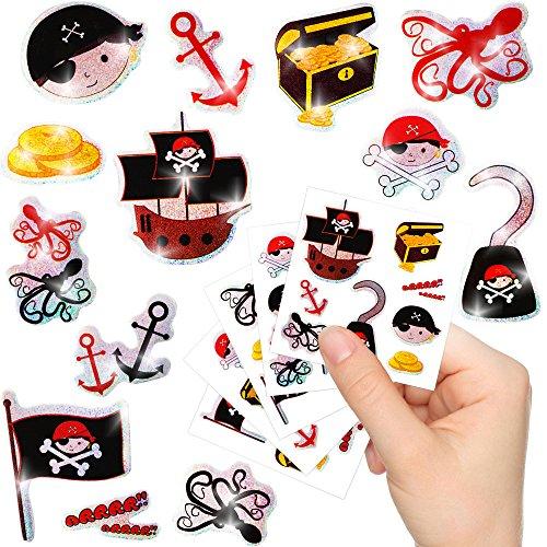 German Trendseller® - Kleine Piraten Glitzer Sticker Bögen ┃ NEU ┃ Pirat ┃ Kindergeburtstag ┃ Mitgebsel ┃ Schatzsuche ┃ Aufkleber für Kinder ┃ 12 Bögen