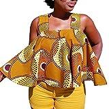 HGWXX7 Women Loose African Print Sleeveless Strapless Blouse T Shirt Tank Tops (XL, Coffee)