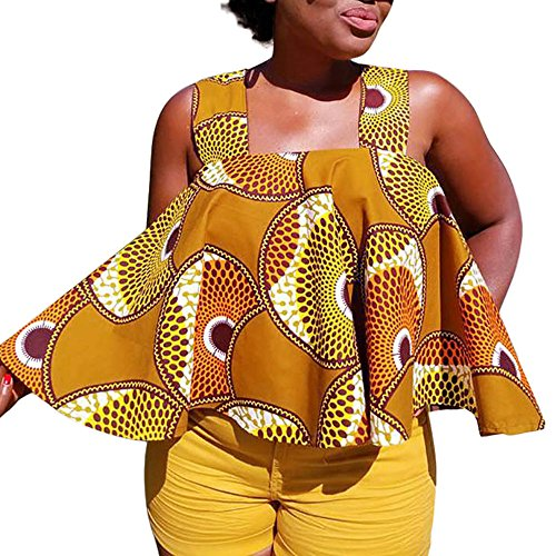 Sunenjoy Camisole Femme Débardeurs Imprimé Africain Sexy Chemise sans Manches Crop Top Epaule Dénudée Tank sans Bretelles Haut Gilet T-Shirt Lâché Été Mode Chic Casual Vêtements S-2XL
