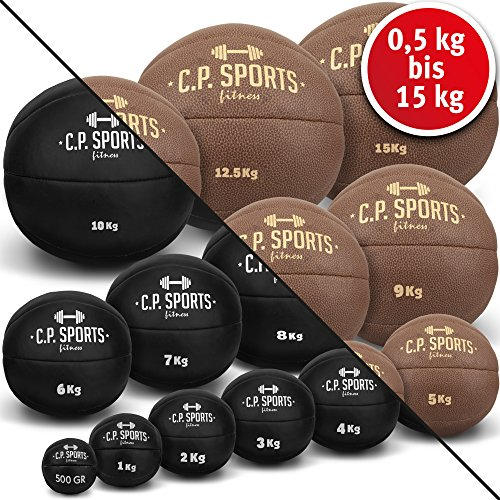 C.P.Sports Medizinball Leder K5, Gewichtsball, Medizinbälle, Crossfit Ball - Erhältlich: 0,5 kg, 1 kg, 2 kg, 3 kg, 4 kg, 5 kg, 6 kg, 7 kg, 8 kg, 9 kg, 10 kg, 12,5 kg bis 15 kg (0,5-KG-schwarz)