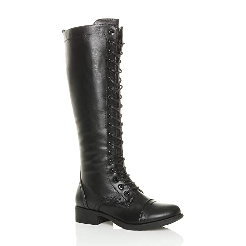 a55cbc8a7a3 Ajvani Womens Ladies Low Block Heel lace up Zip Knee high Calf Biker Army  Military Boots
