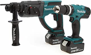 Makita DLX2025T 18V Li-ion LXT 2 Piece Kit comprising DHR202Z and DHP453Z Complete with 2 x 5.0 Ah Batteries and Charger S...
