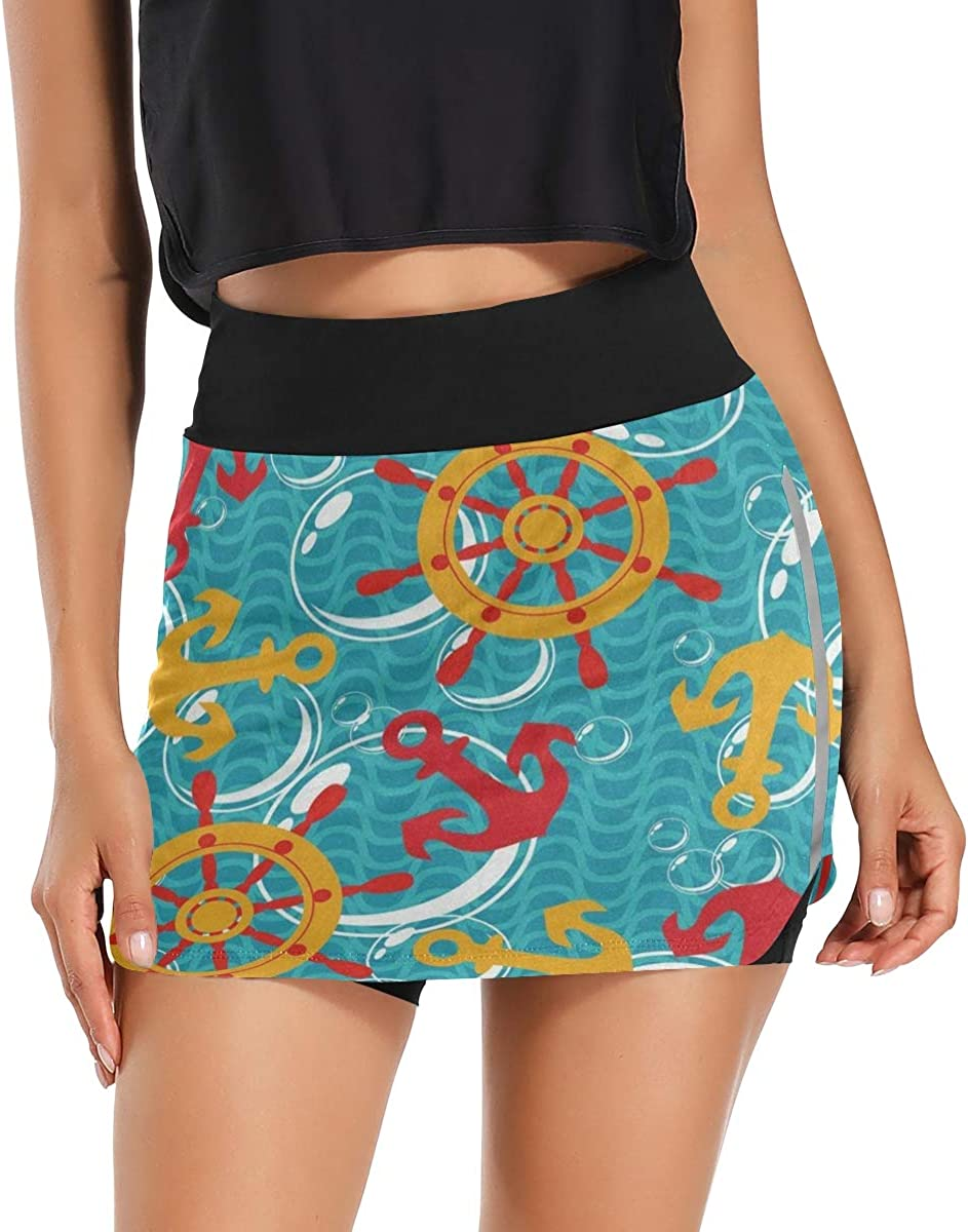Nautical Sea Anchor Wheel Women Tennis P supreme sold out with Skirts Skorts Golf