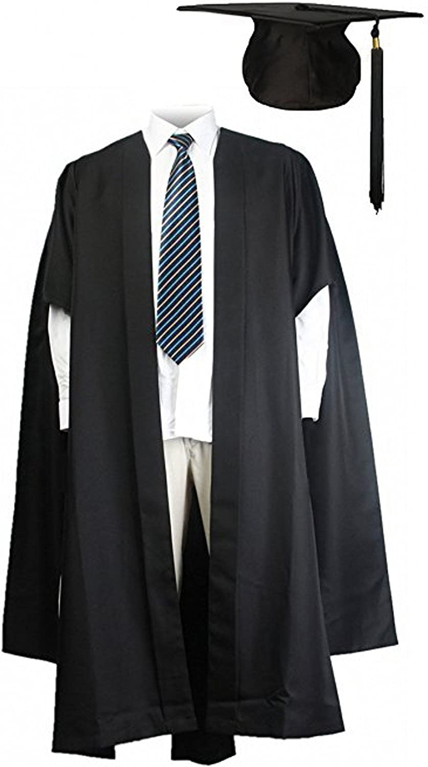 GraduationMall Unisex UK Fluted Master Graduation Gown+ US Style Cap