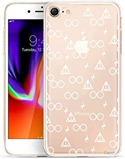 Unov Case Clear with Design Embossed Pattern TPU Soft Bumper Shock Absorption Slim Protective Cover for iPhone 8 iPhone 7 4.7 Inch(Death Hallows)