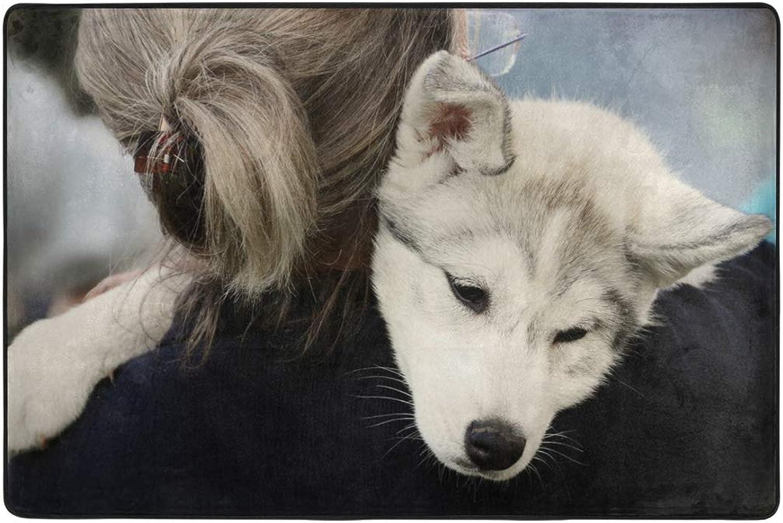 Little Husky Cute Puppy Dormat Decor Indoor Outdoor Welcome Door Anti Skid Mat Rug for Home Office Bedroom