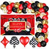 Package contains: you will get 69 pieces latex balloons, including 30 red matte balloons (2 sizes provided), 20 black matte balloons (2 sizes provided), 10 gold matte balloons, 5 gold confetti balloons, 4 pieces playing card series balloon and 1 casi...