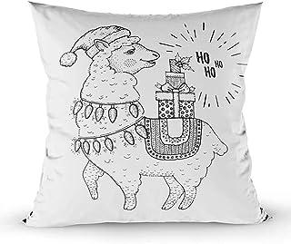 Ducan Lincoln Pillow Case 2PC 18X18,Funda De Almohada,Fundas De Funda De Almohada Cuadrada,Lindo Animal De Navidad Baby Lama Gifts Merry Xmas Cartoon Pet Icon Happy Llama In Santa Hat