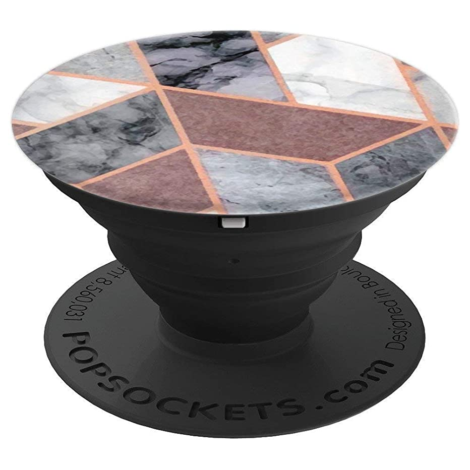 Marble Pop Socket Geometric Design Gray and Pink Rose Gold - PopSockets Grip and Stand for Phones and Tablets