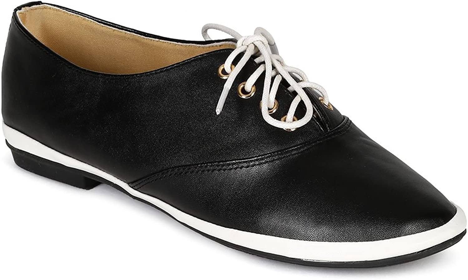 Nature Breeze CA50 Women Leatherette Two Tone Lace Up Round Toe Sneaker Flat - Black