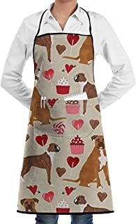 Hahd7sdg4 Boxer Dog Valentines Love Cupcakes Adjustable Kitchen Chef Apron with Pocket and Extra Long Ties,Commercial Men & Women Bib Apron for Cooking,Baking,Gardening