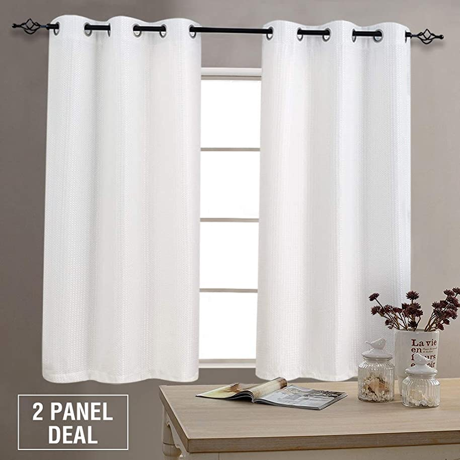 Window Curtains White Waffle Woven Textured Light Reducing Curtain Panels for Living Room 54 inch Length Grommet Top Privacy Bedroom Window Treatment Set, 2 Panels, White