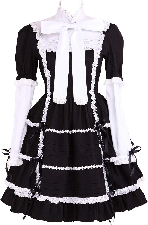 Antaina Black Cotton Ruffle Lace Bow Tie Retro Gothic Lolita Cosplay Dress