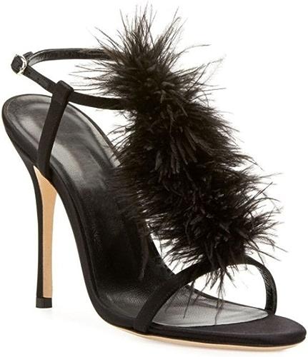 Femmes Feather Sandales Peep Toe Talons Hauts Cheville Brillant Boucles Soirée Pompe Court Chaussures Noir