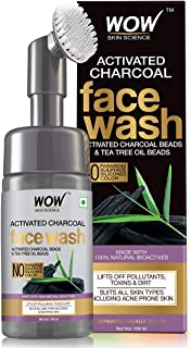WOW Skin Science Charcoal Foaming Face Wash with Built-In Face Brush for deep cleansing - No Parabens, Sulphate, Silicones & Color - 100mL