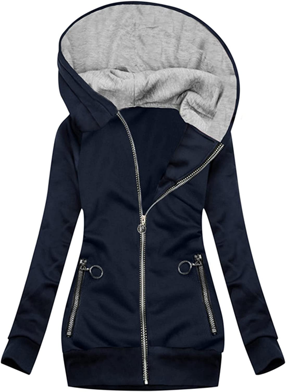Quilted Jackets for Women,Women's Large Printed Hooded Zipper Tops Autumn Pockets Long-Sleeve Blouse Ladies Slim Long Coats