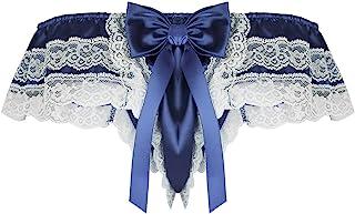 CHICTRY Men's Sissy Satin Ruffled Shiny Bikini Panties Maid Bow Briefs Underwear