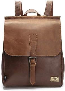 DokinReich Retro PU Leder Vintage Rucksack Wanderrucksack Hiking Backpack Damen Herren Schultertasche PU Rucksack für Camping, L, Braun