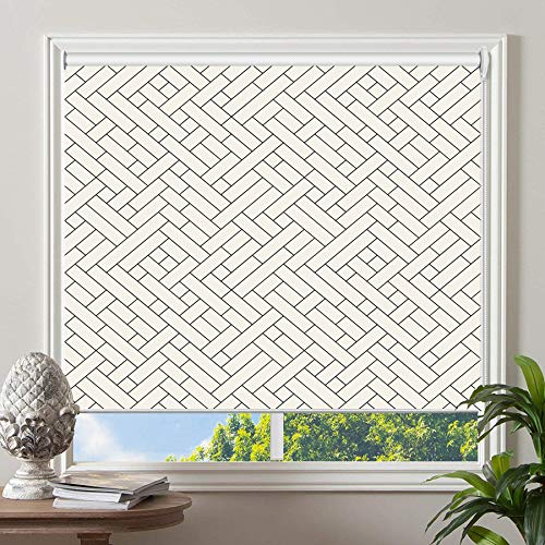 PASSENGER PIGEON Blackout Window Shades, Black in White Patterned Premium Thermal Insulated UV Protection Custom Roller Blinds, 70' W x 36' L
