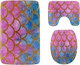 Watercolor Fish Scales Pink Blue Bathroom Rug Mats Set 3-Piece,Soft Shower Bath Rugs,Contour Mat and Toilet Seat Lid Cover...
