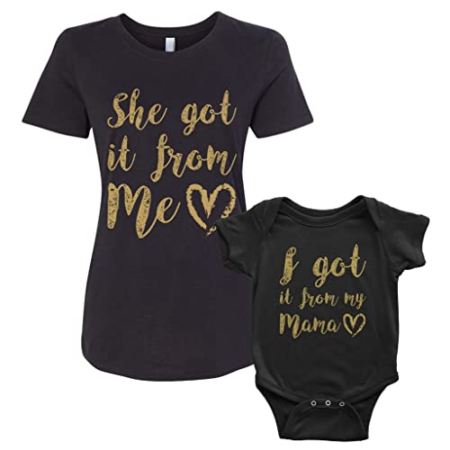 a0789c1dfe Threadrock I Got It from My Mama Infant Bodysuit & Women's T-Shirt Matching  Set