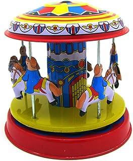 Toyvian Vintage Wind up Toys Carrusel de Escritorio Adorno Merry-Go-Round Clockwork Toy Coleccionable para Cainival Birthday New Year Party Favors