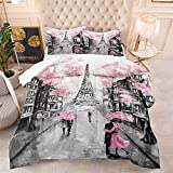 Pink Paris Eiffel Tower Comforter Set Queen Size French Style Couple Lover Flower Bedding Sets for Girls Women Kids Quilted Duvet 1 Comforter + 2 Pillow Cases