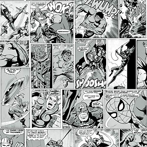 Muriva Marvel Comic Strip TapeteBlack and White 159502