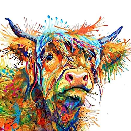 bdrsjdsb Bunte Kuh dekorative Leinwand Malerei Wandkunst Wohnzimmer Home Decor 60 * 60cm