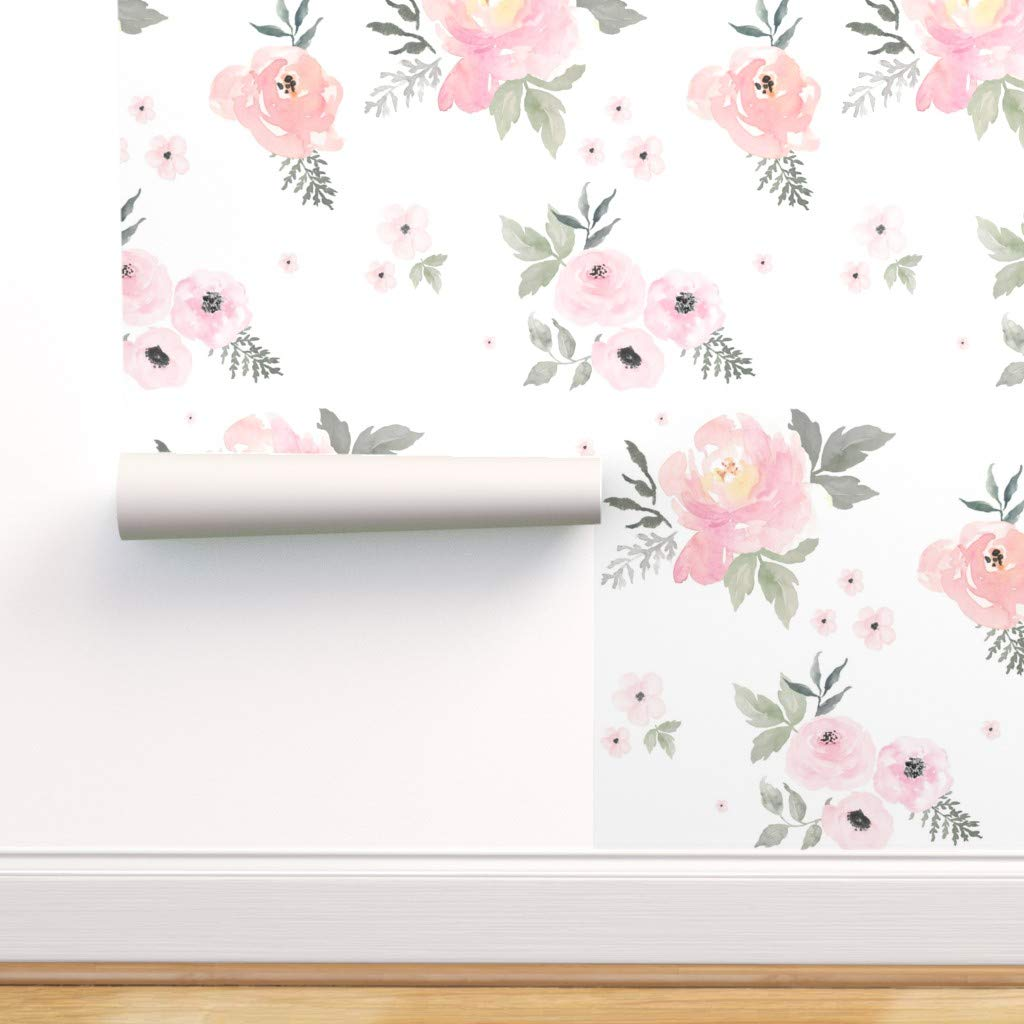 Peel-and-Stick Removable Wallpaper Unicorn Baby Girl Nursery Pink Floral Flowers