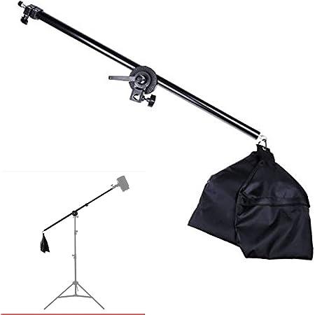 ブームアーム 撮影照明用 75-135cm伸縮調節可能 最大荷重2kg キャスターとサンドバッグ付き スタジオ写真ビデオに対応