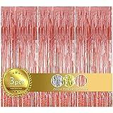 3 piezas Cortinas Metálicas de Oropel, Cortina Fiesta, 1 x 2m Cortina de Flecos Cortinas Brillante Telón de Fondo Cortina de BorlaPara Cumpleaños, Bodas, Fiestas, Navidad Decoraciones (Oro Rosa)
