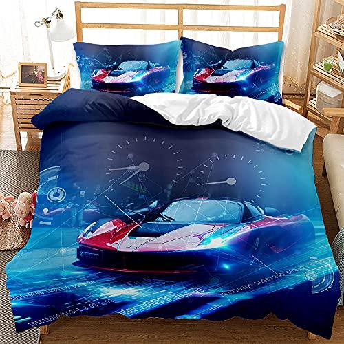 Bedclothes-Blanket Funda nórdica Funda de Colcha,Sanitting Three Piece 3D Impresión Digital Ropa de Cama Moda Locomotora Deportiva-5_240 * 220cm