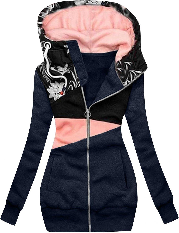 ManxiVoo Women Zip Up Sweatshirt Coat Floral Patchwork Hooded Hoodie Color Block Pockets Jacket with Pocket