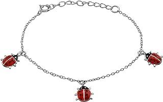/Juego infantil de collar y pendientes plata 925//000/rhodi/é y epoxy//–/Mariquita//–/rojo Tata Gisele/©/