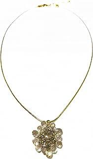 【ネックレス】【完成品】ネックレス ペンダント 天然石 スモーキークォーツ フラワー お花 スネークチェーン