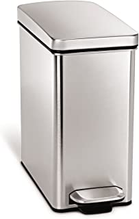simplehuman 10 Liter / 2.6 Gallon Stainless Steel Bathroom Slim Profile Trash Can,..