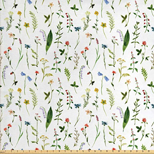 Lunarable Leaf Fabric by The Yard, Flourishing Spring Meadow with Various Wildflowers Nature Themed Watercolor Art, Decorative Fabric for Upholstery and Home Accents, 1 Yard, Green Rainbow