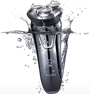 Barbeador Elétrico Recarregável 3D Xiaomi - Smart LED Control SO WHITE - carregamento USB sem fio - ipx7 barbear à prova d...