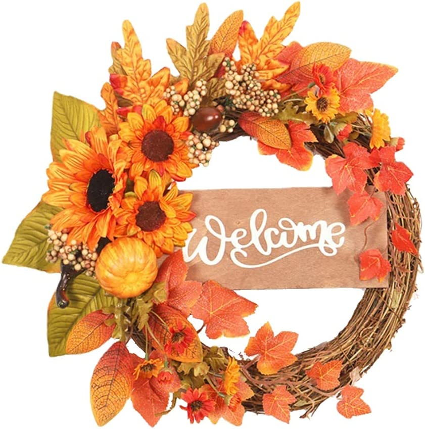 Fall Artificial Sunflower Welcome Max 58% OFF Classic Wreath Harvest Autumn G